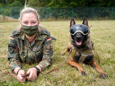 epa08564071 An explosives detection dog poses with his trainer at School for Service Dogs of the Bundeswehr in Ulmen near Koblenz, Germany, 24 July 2020. In the German Bundeswehr Graefin-von-Maltzan barracks in Ulmen, service dogs are being trained as sniffer dogs for the coronavirus Covid-19.  EPA/RONALD WITTEK