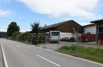 The farm near the small Bavarian village of Mamming, where an outbreak of COVID-10 coronavirus cases has raised, is secured from the outside world, in Mamming, southern Germany, on July 26, 2020. - A total of 174 seasonal workers on a large Bavarian farm in the municipality of Mamming have tested positive for the coronavisrus COVID-19 and some 500 are in quarantine to contain a mass coronavirus outbreak. (Photo by Christof STACHE / AFP) (Photo by CHRISTOF STACHE/AFP via Getty Images)