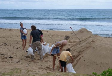 Windward residents fill sand bags in preparation for the effects of hurricane Douglas in Oahu, Hawaii, on July 25, 2020. - Douglas is expected to be a category 1 hurricane with winds 74 to 95mph (119 to 152kph), as it approaches the islands this weekend. (Photo by Ronen ZILBERMAN / AFP) (Photo by RONEN ZILBERMAN/AFP via Getty Images)