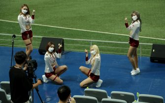 SEOUL, SOUTH KOREA - JULY 26: Kiwoom Heroes cheerleaders dance while wearing face masks during the KBO League game between Lotte Giants and Kiwoom Heroes at the Gocheok Sky Dome on July 26, 2020 in Seoul, South Korea. South Korean baseball start accepting fans to stadiums, ahead of other sports after new coronavirus pandemic, up to 10 percent of its capacity. (Photo by Han Myung-Gu/Getty Images)