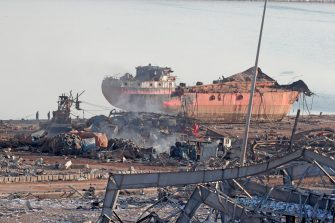 The wreckage of a ship is seen following yesterday's blast at the port of Lebanon's capital Beirut, on August 5, 2020. - Rescuers worked through the night after two enormous explosions ripped through Beirut's port, killing at least 78 people and injuring thousands, as they wrecked buildings across the Lebanese capital. (Photo by ANWAR AMRO / AFP) (Photo by ANWAR AMRO/AFP via Getty Images)