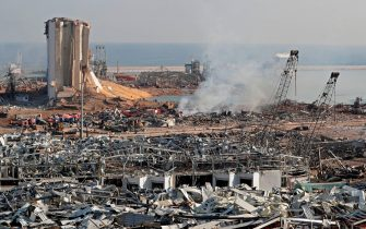 The aftermath of yesterday's blast is seen at the port of Lebanon's capital Beirut, on August 5, 2020. - Rescuers worked through the night after two enormous explosions ripped through Beirut's port, killing at least 78 people and injuring thousands, as they wrecked buildings across the Lebanese capital. (Photo by ANWAR AMRO / AFP) (Photo by ANWAR AMRO/AFP via Getty Images)