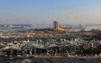A view shows the aftermath of yesterday's blast at the port of Lebanon's capital Beirut, on August 5, 2020. - Rescuers worked through the night after two enormous explosions ripped through Beirut's port, killing at least 78 people and injuring thousands, as they wrecked buildings across the Lebanese capital. (Photo by Anwar AMRO / AFP) (Photo by ANWAR AMRO/AFP via Getty Images)