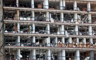 A damaged facade is seen following yesterday's blast at the port of Lebanon's capital Beirut, on August 5, 2020. - Rescuers worked through the night after two enormous explosions ripped through Beirut's port, killing at least 78 people and injuring thousands, as they wrecked buildings across the Lebanese capital. (Photo by ANWAR AMRO / AFP) (Photo by ANWAR AMRO/AFP via Getty Images)