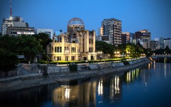 HIROSHIMA, JAPAN - AUGUST 05: The Atomic Bomb Dome is pictured on August 5, 2020 in Hiroshima, Japan. This Thursday will mark the 75th anniversary of the atomic bombing of Hiroshima in which between 90,000 to 146,000 people were killed and the entire city destroyed in the first use of a nuclear weapon in armed conflict. Survivors and dignitaries including Japan's Prime Minister Shinzo Abe will attend a commemoration that has been scaled back because of Covid-19 coronavirus. (Photo by Carl Court/Getty Images)
