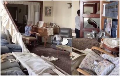 Esplosione Beirut, anziana suona piano nella casa tra le macerie VIDEO