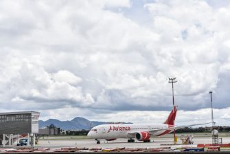 BOGOTA, COLOMBIA - MAY 11: Avianca aircraft remains parked on the Eldorado airport airstrip on May 11, 2020 in Bogota, Colombia. Colombian flag carrier bankruptcy filing was spurred by the COVID-19travel restrictions, which have reduced company income by over 80%.  (Photo by Guillermo Legaria/Getty Images)