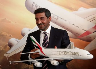 BERLIN - JUNE 08:  Sheikh Ahmed bin Saeed Al Maktoum, Chairman of Emirates airline, holds a model of an Airbus A380 passenger plane while attending a press conference at which he announced that Emirates is to purchase more A380 aircraft at the ILA Berlin Air Show on June 8, 2010 in Berlin, Germany. Emirates will buy an additional 32 A380 aircraft, bringing its total A380 fleet to 90 aircraft.  (Photo by Sean Gallup/Getty Images)
