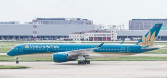 SHANGHAI, CHINA - SEPTEMBER 08: A Vietnam Airlines Airbus A350-941 in runaway at Shanghai Pudong International Airport on September 08 2018 in Shanghai, China. (Photo by Yu Chun Christopher Wong/S3studio/Getty Images)