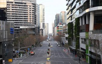 MELBOURNE, AUSTRALIA - AUGUST 11: Empty streets are seen on August 11, 2020 in Melbourne, Australia.  Metropolitan Melbourne  is under stage 4 lockdown restrictions, with people only allowed to leave home to give or receive care, shopping for food and essential items, daily exercise and work while an overnight curfew from 8pm to 5am is also in place. The majority of retail businesses are also closed. Other Victorian regions are in stage 3 lockdown. The restrictions, which came into effect from 2 August, have been introduced by the Victorian government as health authorities work to reduce community COVID-19 transmissions across the state. (Photo by Quinn Rooney/Getty Images)