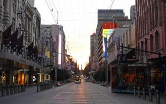 MELBOURNE, AUSTRALIA - AUGUST 11: A very quiet Bourke Street Mall is seen on August 11, 2020 in Melbourne, Australia.  Metropolitan Melbourne  is under stage 4 lockdown restrictions, with people only allowed to leave home to give or receive care, shopping for food and essential items, daily exercise and work while an overnight curfew from 8pm to 5am is also in place. The majority of retail businesses are also closed. Other Victorian regions are in stage 3 lockdown. The restrictions, which came into effect from 2 August, have been introduced by the Victorian government as health authorities work to reduce community COVID-19 transmissions across the state. (Photo by Quinn Rooney/Getty Images)