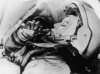 Russian astronaut Valentina Tereshkova practises feeding in simulated flight conditions for her flight as the first woman in space on the Vostok VI mission.   (Photo by Keystone/Getty Images)