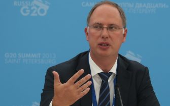 """SAINT PETERSBURG - SEPTEMBER 05:  In this handout image provided by Host Photo Agency, Kirill Dmitriev, CEO, Russian Direct Investment Fund (RDIF), Chair of the Business 20 Task Force on Investments and Infrastructure, at the briefing for """"Cross-border Investments and Infrastructure Investments"""" at the Drivers of New Global Growth at the G20 summit on September 5, 2013 in St. Petersburg, Russia.  The G20 summit is expected to be dominated by the issue of military action in Syria while issues surrounding the global economy, including tax avoidance by multinationals, will also be discussed duing the two-day summit.  (Photo by Mikhail Kireev/Host Photo Agency via Getty Images)"""