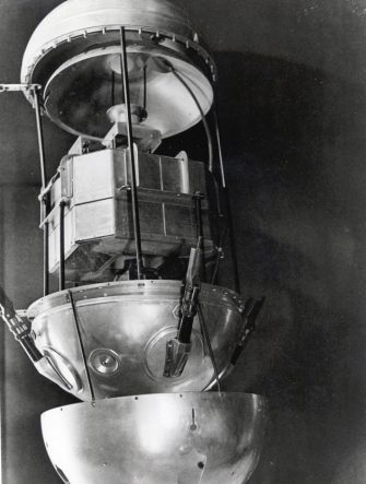 Sputnik 1, Russian satellite, 1957. Launched on 4 October 1957, Sputnik 1 was the first artificial satellite to be put into Earth's orbit. The success of the mission caused panic in the United States, which had believed it held the lead in space technolog (Photo by Fine Art Images/Heritage Images/Getty Images)