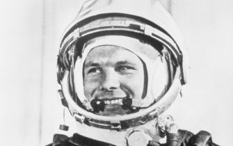 """Moscow, USSR: Personal appearances in Soviet bloc countries and in London--and now a color documentary movie featirung """"Soviet Hero No.1"""" major Yuri Gagarin, the world's first spaceman. He's seen here in his spacesuit in a scene from the documentary, """"First Voyage to the Stars,"""" which is being screened at the 2nd Moscow International Film Festival. Photograph filed 7/19/1961"""