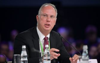 Direct Investment Fund CEO Kirill Dmitriev attends a panel discussion as part of the Artificial Intelligence Journey (AIJ) forum, in Moscow on November 9, 2019. (Photo by Sergei GUNEYEV / Sputnik / AFP) (Photo by SERGEI GUNEYEV/Sputnik/AFP via Getty Images)