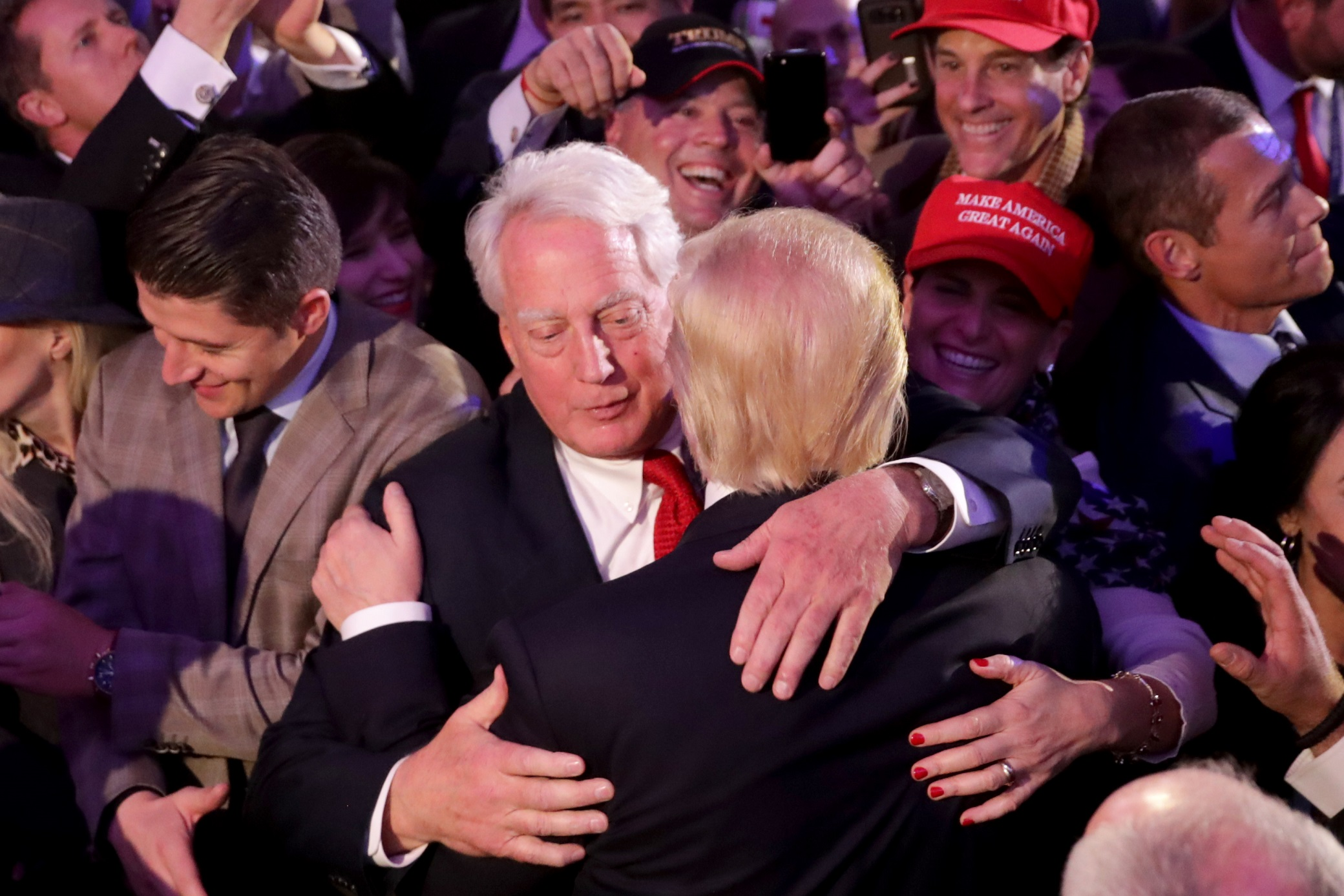 NEW YORK, NY - NOVEMBER 09:  Republican president-elect Donald Trump (R) hugs his brother Robert Trump after delivering his acceptance speech at the New York Hilton Midtown in the early morning hours of November 9, 2016 in New York City. Donald Trump defeated Democratic presidential nominee Hillary Clinton to become the 45th president of the United States.  (Photo by Chip Somodevilla/Getty Images)