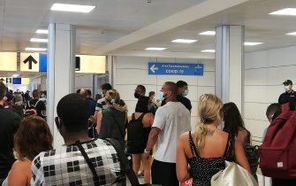 Passengers are screened for COVID-19 at a testing station set up inside Fiumicino airport, near Rome, Italy, 16 August 2020. Italy has introduced mandatory coronavirus disease (COVID-19) testing for anyone arriving from Croatia, Greece, Spain and Malta in an attempt to avoid a spike of new cases. ANSA/ TELENEWS