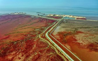 This aeiral photo shows a view of the red beach caused by the red plant of Suaeda salsa in Panjin, in China's northeastern Liaoning province on August 7, 2020. (Photo by STR / AFP) / China OUT (Photo by STR/AFP via Getty Images)