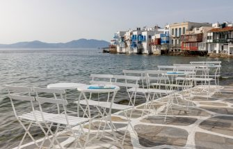 MYKONOS, GREECE - JUNE 08: Empty tables and chairs on the Greek island of Mykonos on June 08, 2020 in Mykonos, Greece. The Greek island of Mykonos waits for tourists which depends on tourism for 80 percent of its income. With tourism accounting for 12 percent of national output, Greece is expected to sink into a 10 percent recession this year, according to the International Monetary Fund. (Photo by Athanasios Gioumpasis/Getty Images)