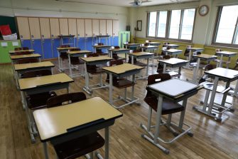 SEOUL, SOUTH KOREA - MAY 19: An empty classroom is seen ahead of school re-opening at Yeouido girl's high school on May 19, 2020 in Seoul, South Korea. Senior high school students are able to return to school from tomorrow, as South Koreans take measures to protect themselves against the spread of coronavirus (COVID-19). South Korea's education ministry announced plans to re-open schools starting for senior high school students, more than two months after schools were closed in a precautionary measure against the coronavirus. According to the Korea Center for Disease Control and Prevention, 13 new cases were reported. The total number of infections in the nation tallies at 11,078. (Photo by Chung Sung-Jun/Getty Images)