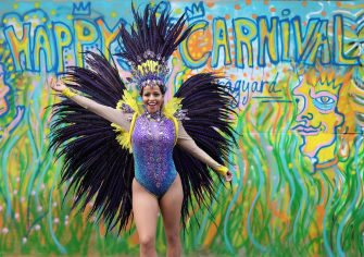 Pilates instructor Juliana Campos poses in her carnival costume in Notting Hill, London, on what would have been the weekend of the Notting Hill Carnival, after the 2020 carnival was cancelled due to the coronavirus pandemic, with events being streamed online. (Yui Mok / IPA/Fotogramma, London - 2020-08-30) p.s. la foto e' utilizzabile nel rispetto del contesto in cui e' stata scattata, e senza intento diffamatorio del decoro delle persone rappresentate