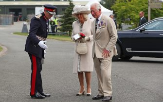 ALREWAS, ENGLAND - AUGUST 15: Prince Charles, Prince of Wales and Camilla, Duchess of Cornwall arrive to attend the national service of remembrance marking the 75th anniversary of VJ Day at the National Memorial Arboretum on August 15, 2020 in Alrewas, England. Saturday marks 75 years since Japan surrendered to the Allied forces on August 15 1945, ending the conflict's hostilities. (Photo by Peter Byrne - WPA Pool/Getty Images)