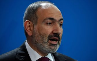 Armenian Prime Minister Nikol Pashinyan addresses a joint press conference with the German Chancellor prior to bilateral talks in the Chancellery in Berlin on February 13, 2020. (Photo by John MACDOUGALL / AFP) (Photo by JOHN MACDOUGALL/AFP via Getty Images)