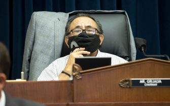 WASHINGTON, DC - JUNE 29: U.S. House Natural Resources Committee Chairman Raul Grijalva (D-AZ) presides over a hearing examining Park Police response to Lafayette Square protests on June 29, 2020 in Washington, D.C. Amid protests of the death of George Floyd, authorities in D.C cleared the largely peaceful crowd gathered in Lafayette Square on June 1 prior to President Donald Trump's walk across the park for a photo op at St. John's Church. (Photo by Bonnie Cash-Pool/Getty Images)
