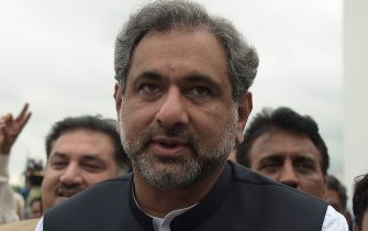 Pakistan's former petroleum minister and prime minister-designate Shahid Khaqan Abbasi arrives at the Parliament House to cast his vote during the election for interim prime minister in Islamabad on August 1, 2017. Pakistan's parliament is set to elect a new prime minister on August 1, after the Supreme Court ousted Nawaz Sharif following an investigation into corruption allegations against his family. / AFP PHOTO / AAMIR QURESHI (Photo credit should read AAMIR QURESHI/AFP via Getty Images)