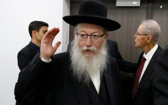 Israeli Health Minister Yaakov Litzman arrives for a situation assessment meeting regarding the Coronavirus (COVID-2019), at the Health Ministry in the Israeli coastal city of Tel Aviv on February 23, 2020. (Photo by JACK GUEZ / AFP) (Photo by JACK GUEZ/AFP via Getty Images)