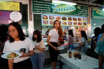 epa08645096 A Thai transgender student Siwakorn Thatsanasorn (C) wearing female university student uniform buys food during a lunch break at a canteen in Thammasat University Rangsit Campus in Pathum Thani province, Thailand, 24 August 2020 (issued 04 September 2020). Outdated regulations at most schools and universities in Thailand mean many transgender people are forced to wear a uniform in class that does not match their gender identity. Since June, Thammasat University has removed those regulations, allowing 20 year-old Siwakorn 'Buzzy' Thatsanasorn to wear the outfit of her choice at school. But Siwakorn says that transgenders in primary and secondary schools are still not allowed to choose gender-appropriate school uniforms.  EPA/RUNGROJ YONGRIT  ATTENTION: This Image is part of a PHOTO SET