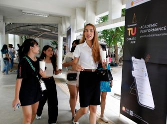 epa08645097 A Thai transgender student Siwakorn Thatsanasorn (R) wearing female university student uniform chats with female classmates during a break at Thammasat University Rangsit Campus in Pathum Thani province, Thailand, 24 August 2020 (issued 04 September 2020). Outdated regulations at most schools and universities in Thailand mean many transgender people are forced to wear a uniform in class that does not match their gender identity. Since June, Thammasat University has removed those regulations, allowing 20 year-old Siwakorn 'Buzzy' Thatsanasorn to wear the outfit of her choice at school. But Siwakorn says that transgenders in primary and secondary schools are still not allowed to choose gender-appropriate school uniforms.  EPA/RUNGROJ YONGRIT  ATTENTION: This Image is part of a PHOTO SET
