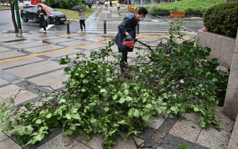 A man clears branches fallen by strong winds caused by Typhoon Haishen in central Seoul on September 7, 2020. - Powerful Typhoon Haishen drenched South Korea on September 7 after slamming southern Japan with record winds and heavy rains that prompted evacuation warnings for millions. (Photo by Jung Yeon-je / AFP) (Photo by JUNG YEON-JE/AFP via Getty Images)