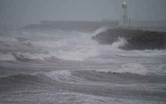 Waves due to weather patterns caused by Typhoon Haishen crash on the coast of Shikanoshima island, Fukuoka prefecture, on September 7, 2020. - Powerful Typhoon Haishen approached South Korea on September 7 after slamming southern Japan with record winds and heavy rains that prompted evacuation warnings for millions. (Photo by STR / JIJI PRESS / AFP) / Japan OUT (Photo by STR/JIJI PRESS/AFP via Getty Images)
