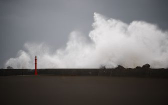 High waves batter the coastline in Ichikikushikino, Kagoshima prefecture on September 7, 2020, after Typhoon Haishen passed through. - Powerful Typhoon Haishen approached South Korea on September 7 after slamming southern Japan with record winds and heavy rains that prompted evacuation warnings for millions. (Photo by CHARLY TRIBALLEAU / AFP) (Photo by CHARLY TRIBALLEAU/AFP via Getty Images)