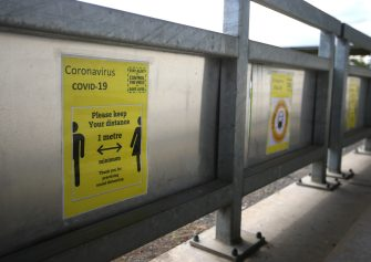 DARTFORD, ENGLAND - SEPTEMBER 06: A COVID-19 sign is seen inside the stadium prior to FA Women's Championship match between London City Lionesses and Sheffield Untied at Princess Park on September 06, 2020 in Dartford, England. (Photo by James Chance/Getty Images)