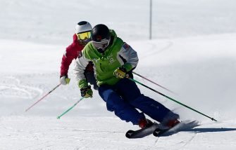 LO BARNECHEA, CHILE - AUGUST 14: Members of the Chile Ski Team practice in El Colorado ski Resort as it remains closed to tourists amid the Coronavirus pandemic on August 14, 2020 in Lo Barnechea, Chile. Despite being the best snow season in ten years, Ski resorts of the Lo Barnechea region, 60 km from Santiago, still could not open for tourists due to government-ordered restrictions to halt spread of COVID-19. While some centers still await for protocols to be approved and restrictions relaxed, some others decided to remain closed for the entire season, which represents major economic impact for all of them. (Photo by Marcelo Hernandez/Getty Images)