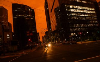 SAN FRANCISCO, CA - SEPTEMBER 09: An orange glow is seen over a darkened Howard Street as smoke from various wildfires burning across Northern California mixes with the marine layer on September 9, 2020 in San Francisco, California. Over 2 million acres have burned this year as wildfires continue to burn across the state. (Photo by Philip Pacheco/Getty Images)