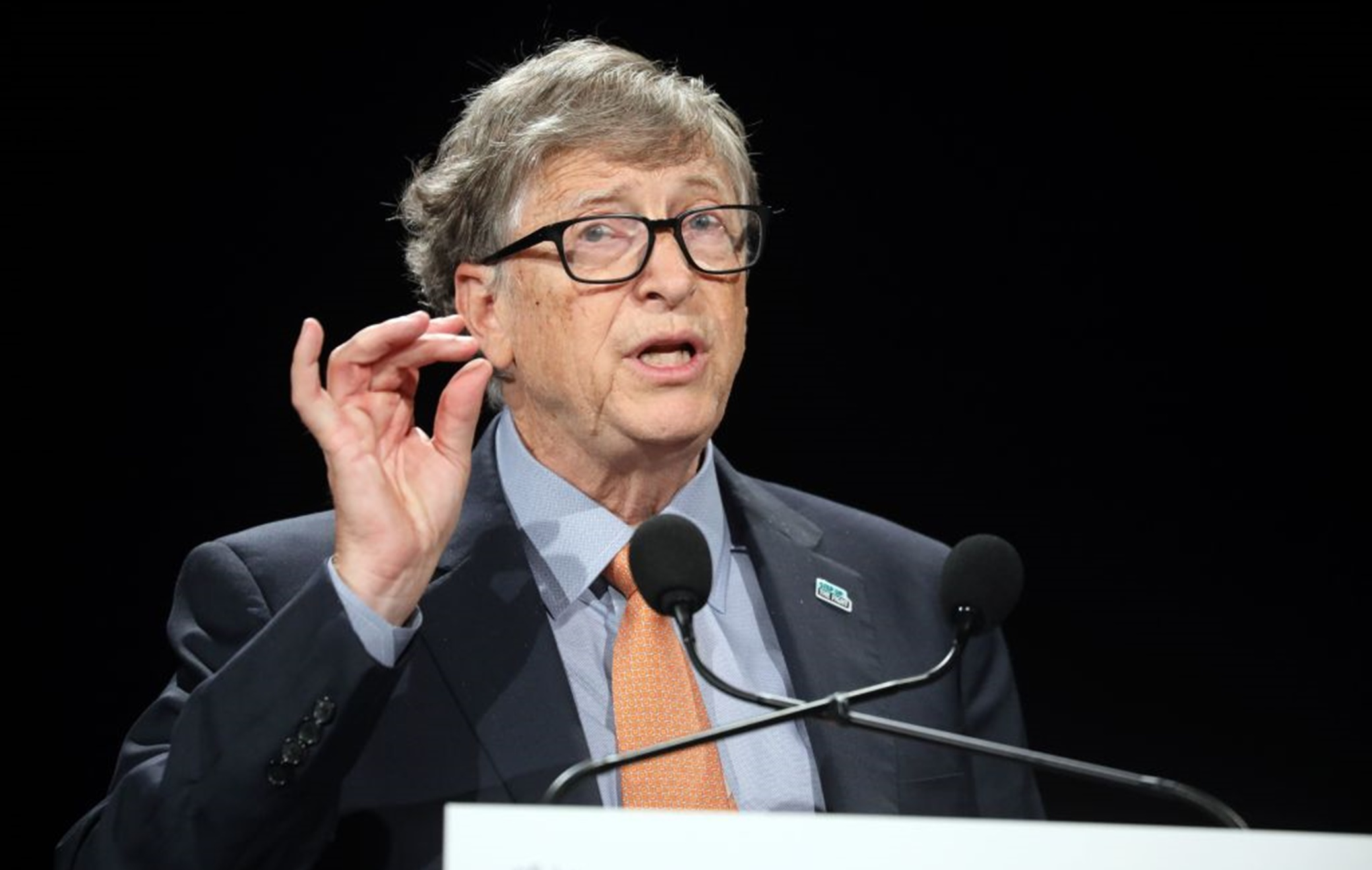 Microsoft founder, Co-Chairman of the Bill & Melinda Gates Foundation, Bill Gates delivers a speech during the conference of Global Fund to Fight HIV, Tuberculosis and Malaria on october 10, 2019, in Lyon, central eastern France. - The Global Fund to Fight AIDS, Tuberculosis and Malaria opened a drive to raise $14 billion to fight a global epidemics but face an uphill battle in the face of donor fatigue. (Photo by Ludovic MARIN / AFP) (Photo by LUDOVIC MARIN/AFP via Getty Images)