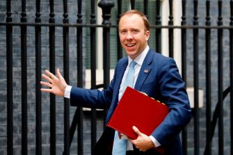 Britain's Health Secretary Matt Hancock reacts as he arrives at 10 Downing Street in central London on September 3, 2020. (Photo by Tolga AKMEN / AFP) (Photo by TOLGA AKMEN/AFP via Getty Images)