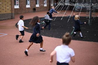 Students play during their break on their first day of school after the summer break at St Luke's Church of England Primary School in East London on September 3, 2020.Students are seen during their first day of school after the summer break at St Luke's Church of England Primary School in East London on September 3, 2020. - Pupils in Britain have on Thursday begun to return to schools for the first time since they were all closed in March, due to the COVID-19 pandemic. (Photo by DANIEL LEAL-OLIVAS / AFP) (Photo by DANIEL LEAL-OLIVAS/AFP via Getty Images)