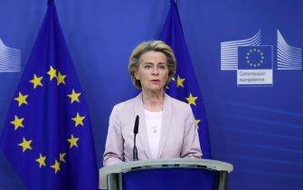 epa08653792 President of the European Commission Ursula Von der Leyen announces the replacement of Ireland's Commissioner Phil Hogan, whose portfolio will be taken by Latvia's Commissioner Valdis Dombrovskis, in Brussels, Belgium, 08 September 2020. This change comes as the Ireland's commissioner was obliged to resign after non compliance with coronavirus sanitary measures.  EPA/ARIS OIKONOMOU / POOL