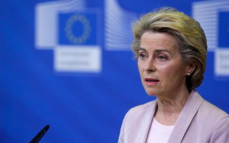 epa08653794 President of the European Commission Ursula Von der Leyen announces the replacement of Ireland's Commissioner Phil Hogan, whose portfolio will be taken by Latvia's Commissioner Valdis Dombrovskis, in Brussels, Belgium, 08 September 2020. This change comes as the Ireland's commissioner was obliged to resign after non compliance with coronavirus sanitary measures.  EPA/ARIS OIKONOMOU / POOL