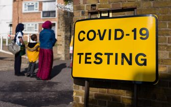 LONDON, UNITED KINGDOM - SEPTEMBER 18: Signs direct members of the public to a COVID-19 testing centre on September 18, 2020 in east London, United Kingdom. The Government is currently considering a short period of national lockdown in a bid to slow a second wave in the pandemic, after it was announced that hospitalisations due to the coronavirus in London have doubled every eight days over recent weeks. (Photo by Leon Neal/Getty Images)