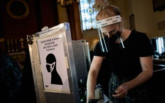 LONDON, ENGLAND - SEPTEMBER 18: Covid-19 safety measures in place backstage ahead of the Bora Aksu show during LFW September 2020 at The Waldorf London on September 18, 2020 in London, England. (Photo by Gareth Cattermole/BFC/Getty Images)