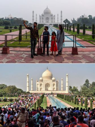 (COMBO) This combination photo created on September 21, 2020, shows tourists visiting the Taj Mahal on September 21, 2020 (top) and (bottom) a large crowd of tourists on October 20, 2018, in Agra. - The Taj Mahal reopened to visitors on September 21 in a symbolic business-as-usual gesture even as India looks set to overtake the US as the global leader in coronavirus infections. (Photo by Sajjad HUSSAIN and Pawan SHARMA / AFP) (Photo by SAJJAD HUSSAIN,PAWAN SHARMA/AFP via Getty Images)