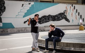 Foto  LaPresse/ Matteo Corner30 Aprile 2019, MilanoIl murales di 70 metri all Universita Bocconi