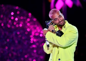 NEW YORK, NEW YORK - AUGUST 30: Maluma accepts the Best Latin award for â  Qué Penaâ   with J Balvin, during the 2020 MTV Video Music Awards at the Skyline Drive-In, broadcast on Sunday, August 30, 2020 in New York City. (Photo by Jeff Kravitz/MTV VMAs 2020/Getty Images for MTV)