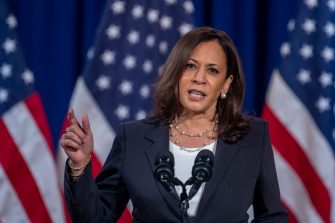 US Democratic vice presidential nominee and Senator from California, Kamala Harris, speaks on the administration of US President Donald Trump failures to contain Covid-19, in Washington, DC, on August 27, 2020 (Photo by Eric BARADAT / AFP) (Photo by ERIC BARADAT/AFP via Getty Images)